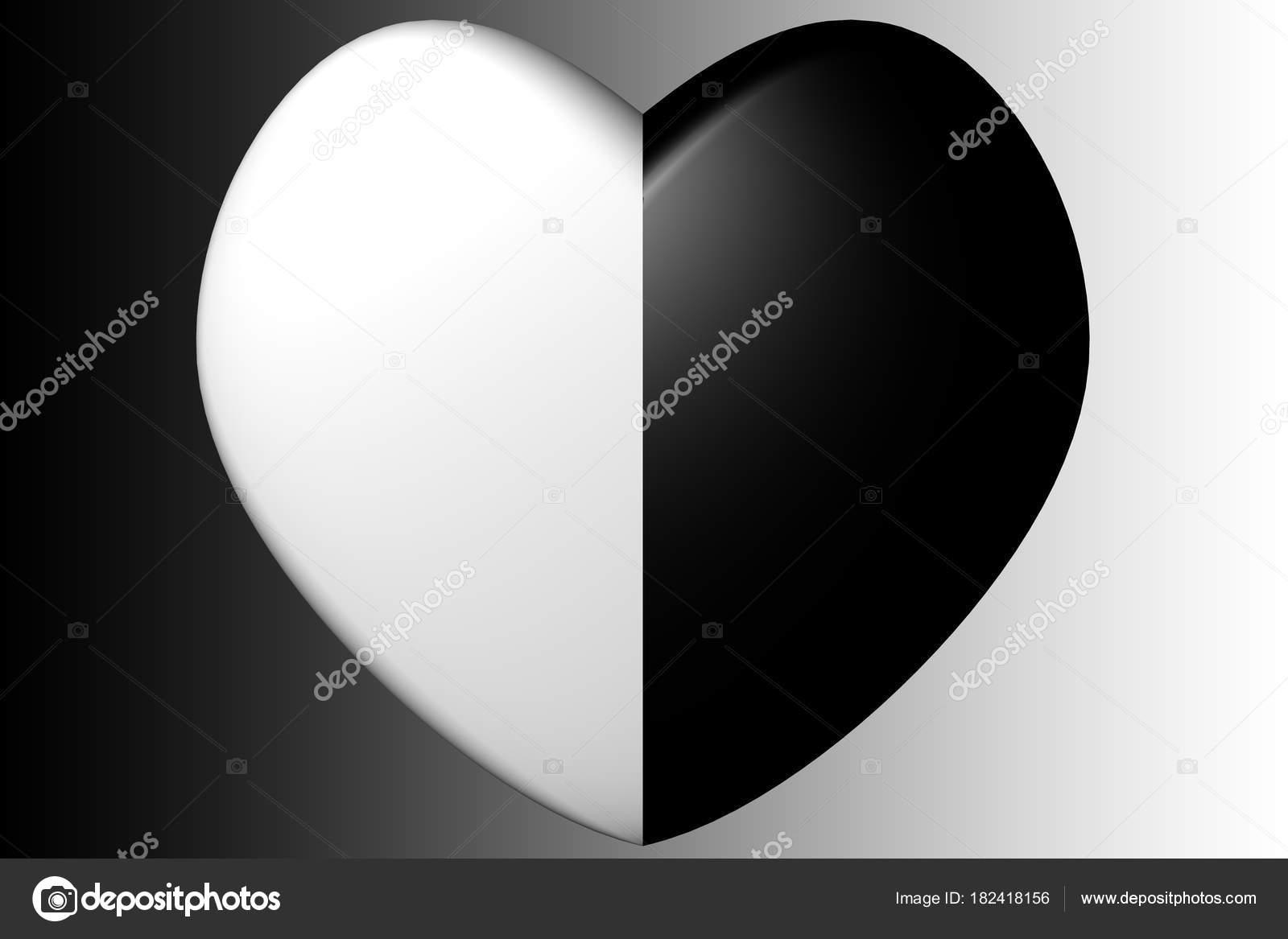Coeur Noir Blanc Amour Saint Valentin Photographie