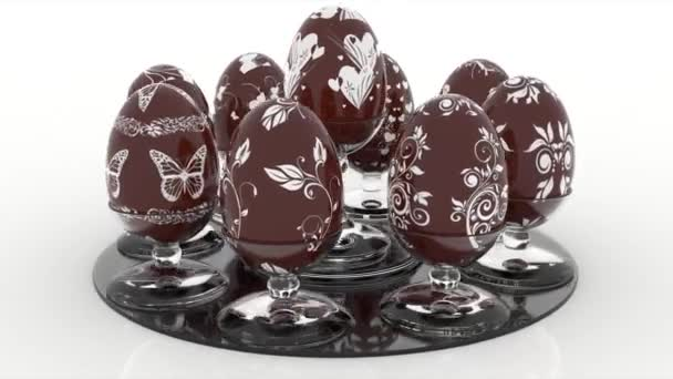 Videos. 3D illustration. Series of Easter eggs decorated with various decorations.
