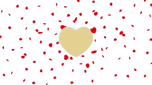 Videa. 3D obrázek... Malé červené srdce se točí kolem zlaté střední srdce. Symbol lásky a den svatého Valentýna.