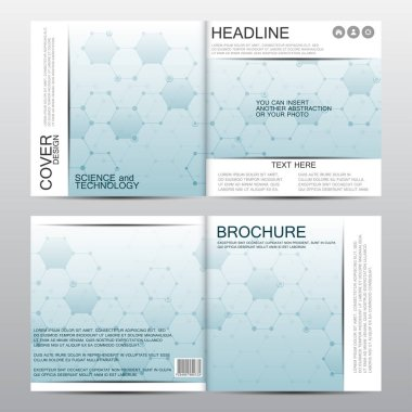 Square brochure template with molecular structure. Geometric abstract background. Medicine, science, technology. Vector graphics.