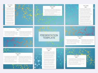 Set of modern business presentation templates in A4 size. Abstract background with molecule structure DNA and neurons. Medicine, science, technology concept. Scalable vector graphics.