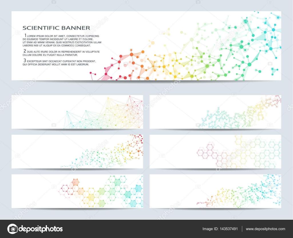 Conjunto de banners científicas moderna. Estructura de la molécula ...