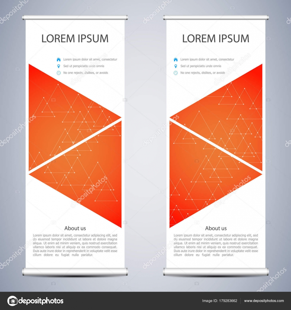 Abstract Roll up banner for presentation and publication. Science, technology and business templates. Square linear digital texture, technological and scientific concept, vector illustration.