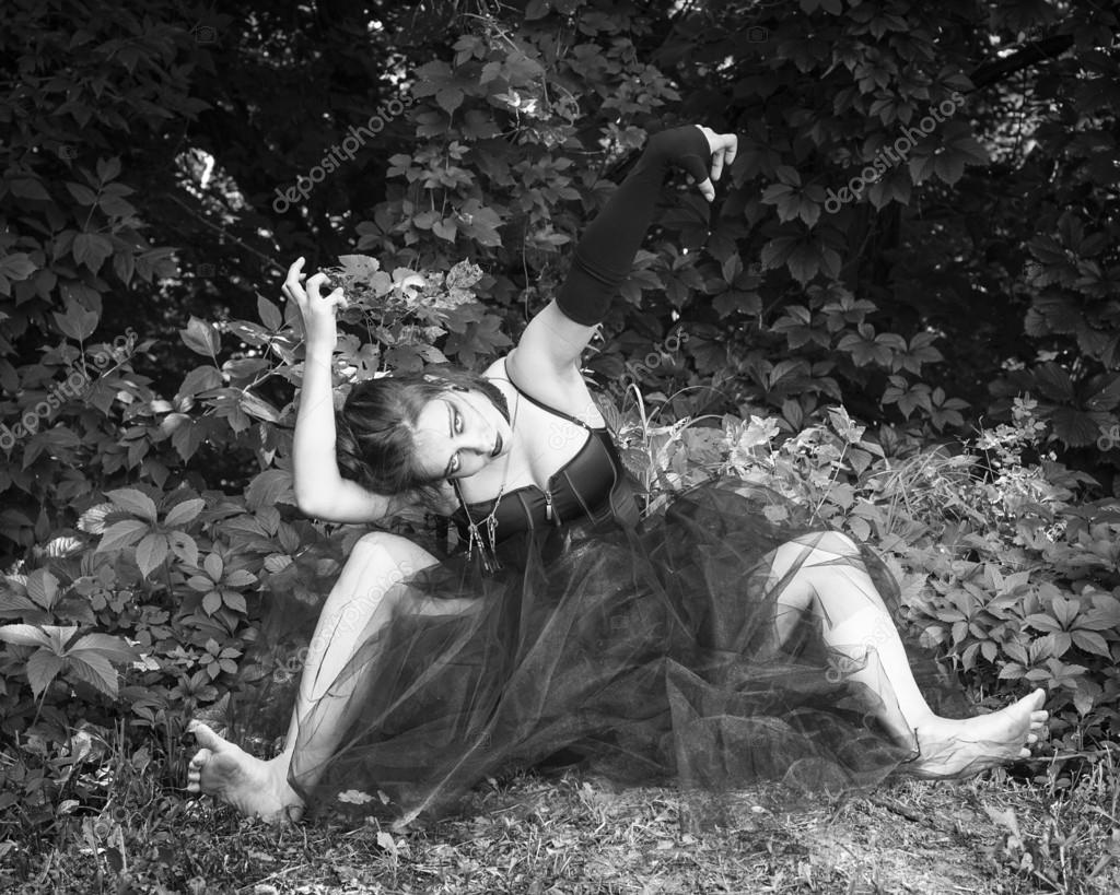 Witch on coven  Halloween  Gothic bride  Black and white photo