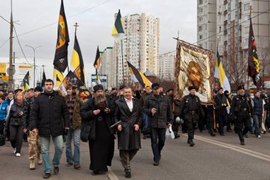 Demonstration in Russia. Russian March on the day of national unity in the Moscow district of Lublino, November 4, 2011, Moscow, Russia