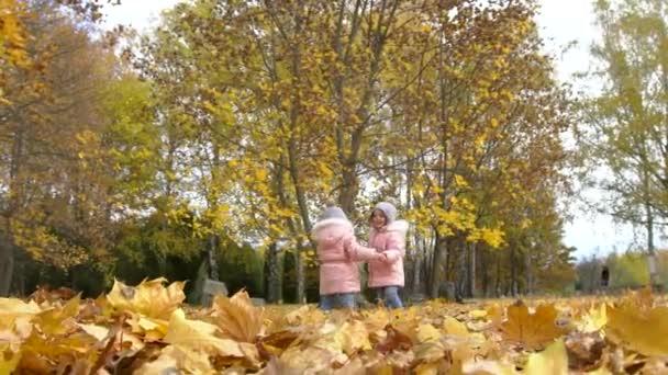 Děti dvojčata hrát v parku s žluté listí na podzim