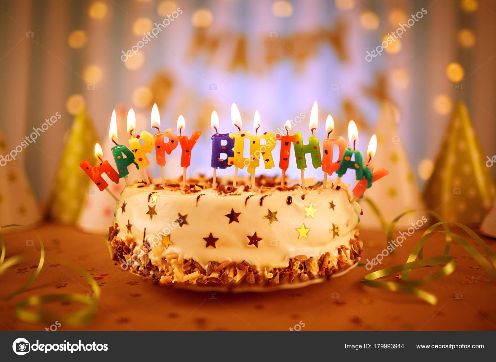 Birthday Cake With Candles.Happy Birthday Cake With Candles Stock Photo C Lacheev