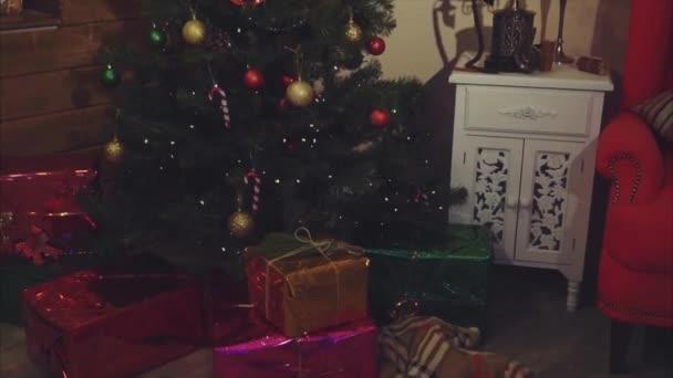 Záběry z vánoční stromeček, dárky a ozdoby