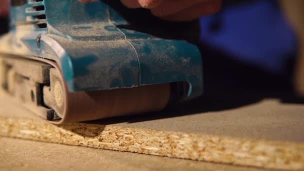 Schreiner Ist Oberfläche Des Hölzernen Detail Möbel Von Electrotool