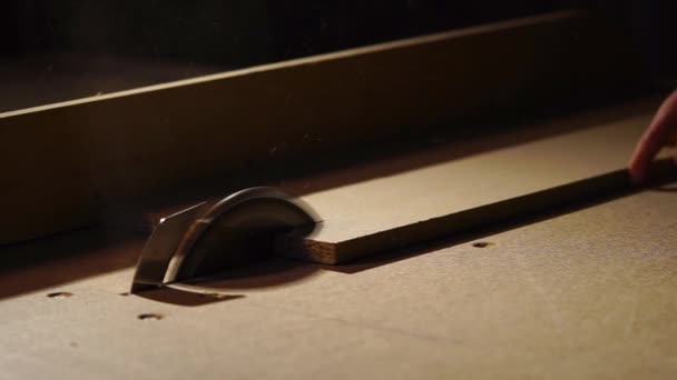 Člověk je hlavní dřevěné prkno v kotoučové pily stroj v továrně
