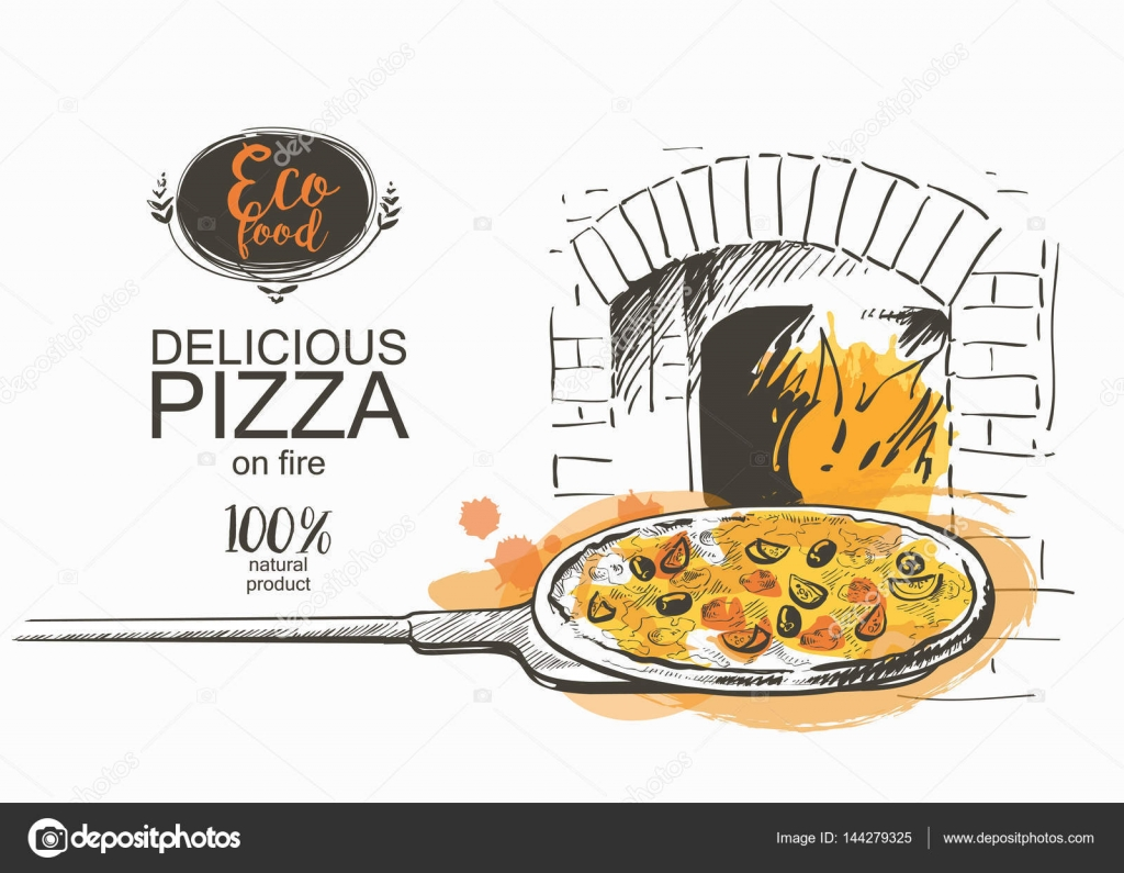 pizza ready to bake in the oven vector illustration — Stock Vector ...