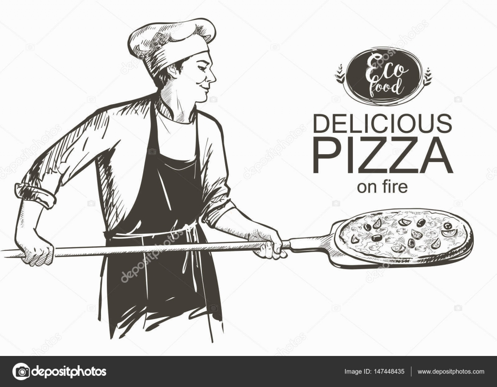 Pizza lista para hornear en la ilustración de vector de horno ...