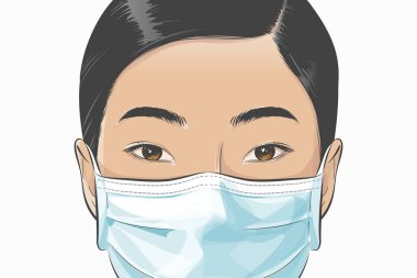 Vector Asian woman wearing disposable medical surgical face mask to protect against high air toxic pollution city