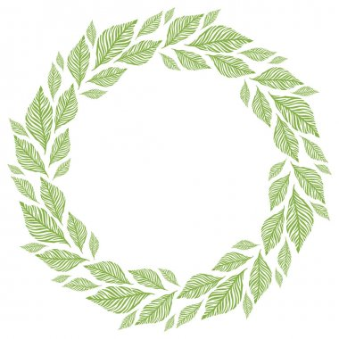 Vector circle frame, wreath made of leaves. Circle decoration.
