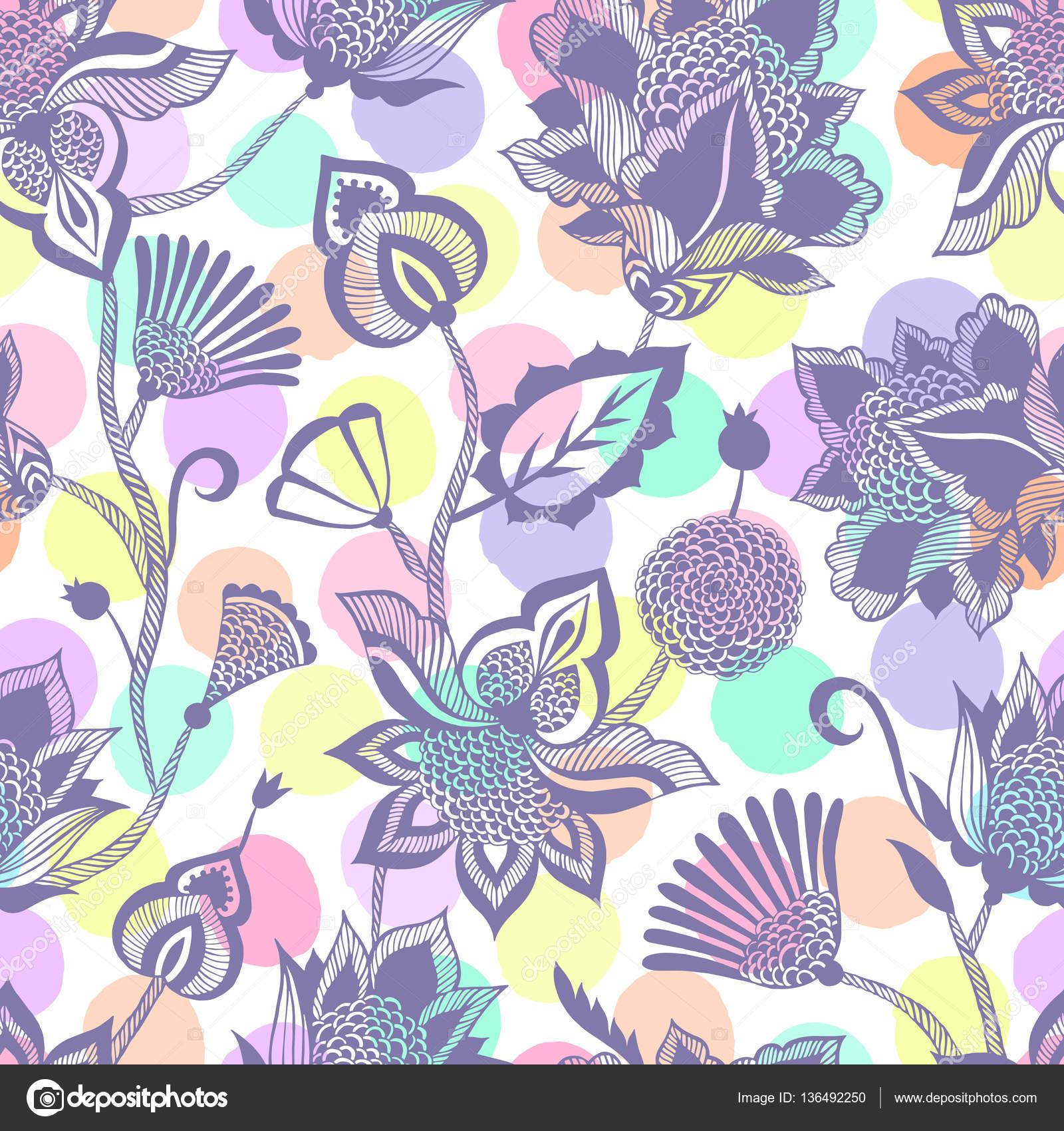 Zeitgenössischen ethnischen nahtlose Muster mit floralen Elementen ...