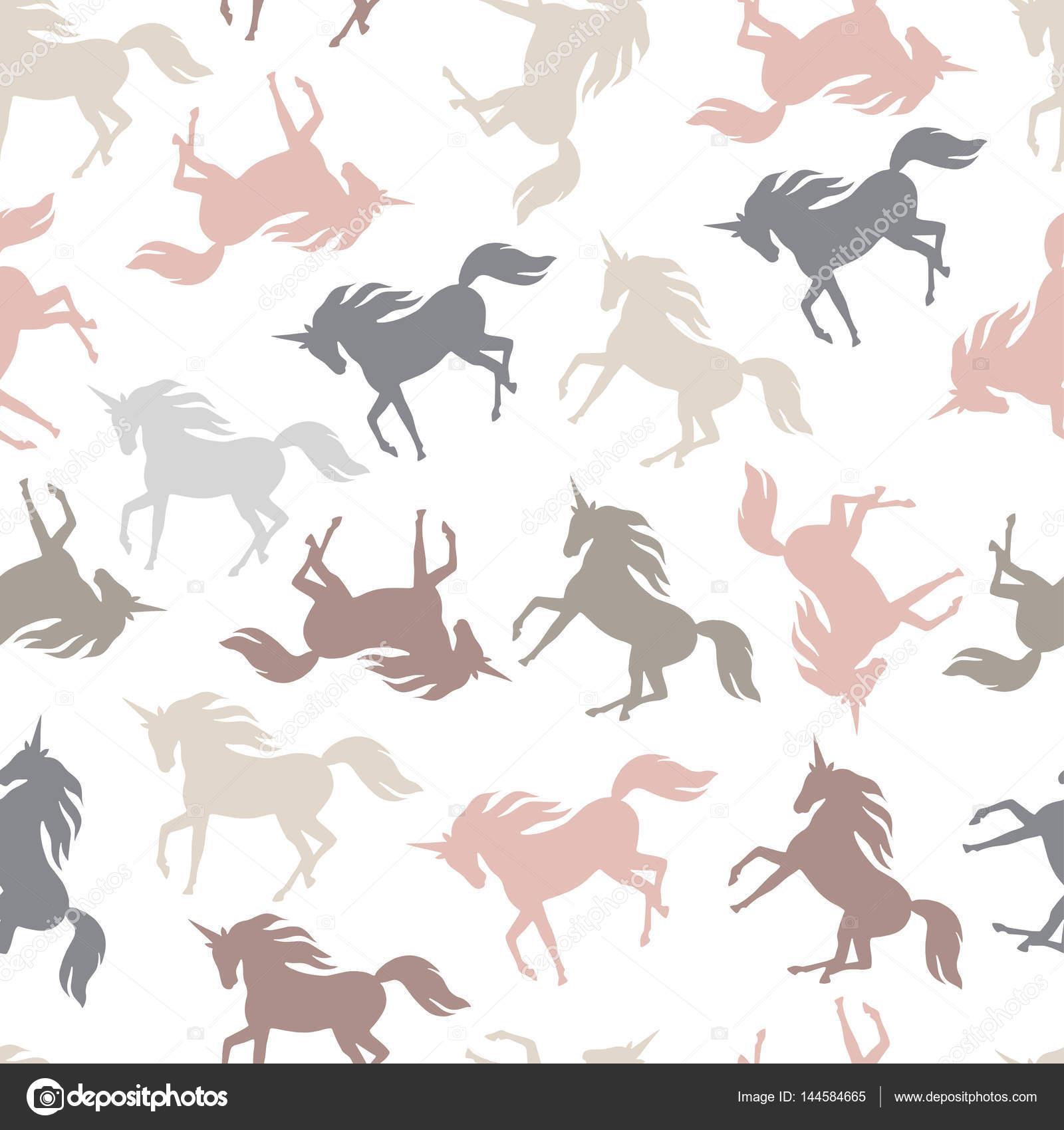 Realistic unicorn silhouette seamless pattern  Vector  — Stock