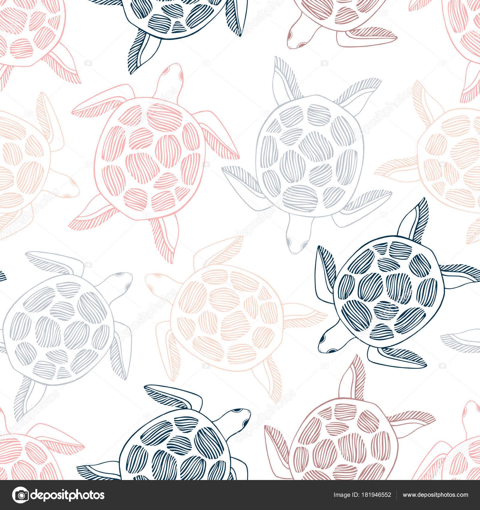 patrón sin costuras con las tortugas marinas — Vector de stock ...
