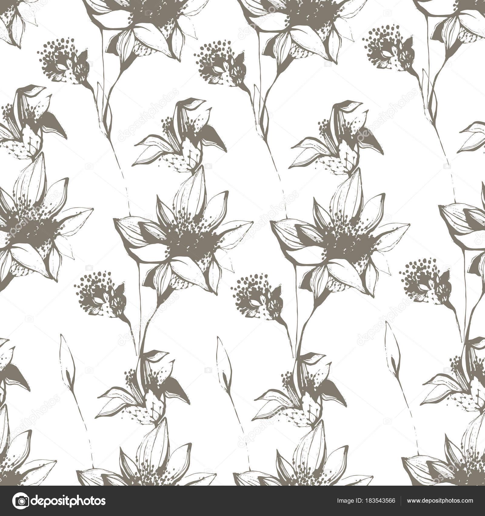 vendimia de patrones sin fisuras con flores dibujadas a mano ...