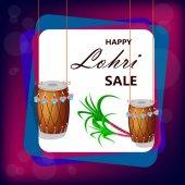 Fotografie Glücklich Lohri Verkauf Banner mit zwei hängenden Trommeln und Zuckerrohr, Punjabi traditionelles fest. Vektor-Illustration auf violettem Hintergrund