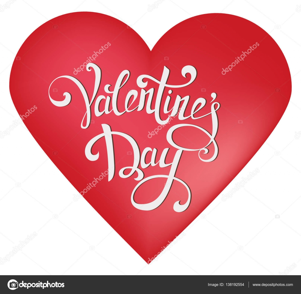 Happy Valentineu0027s Day Greeting Card. Red Heart Shape On White Background  With Hand Drawn Vintage