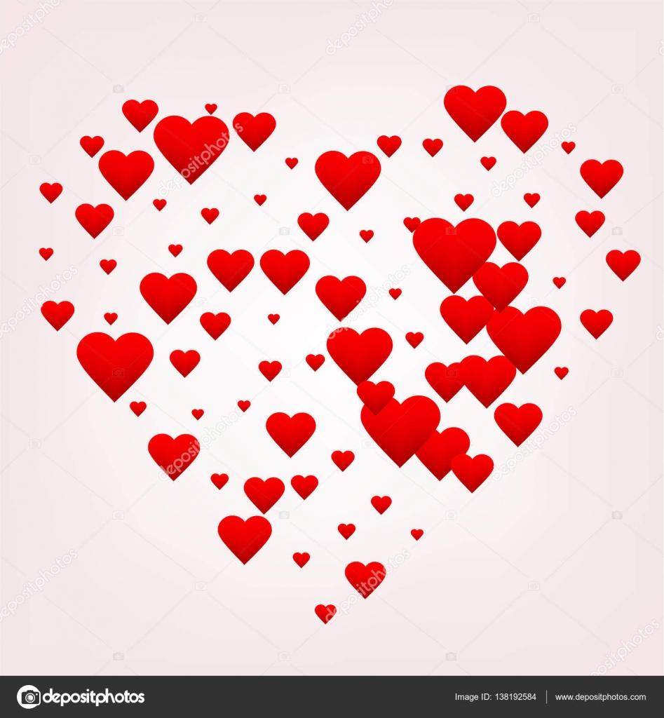 Happy Valentines Day Z Zyczeniami Czerwone Serce Sklada Sie Z Wielu