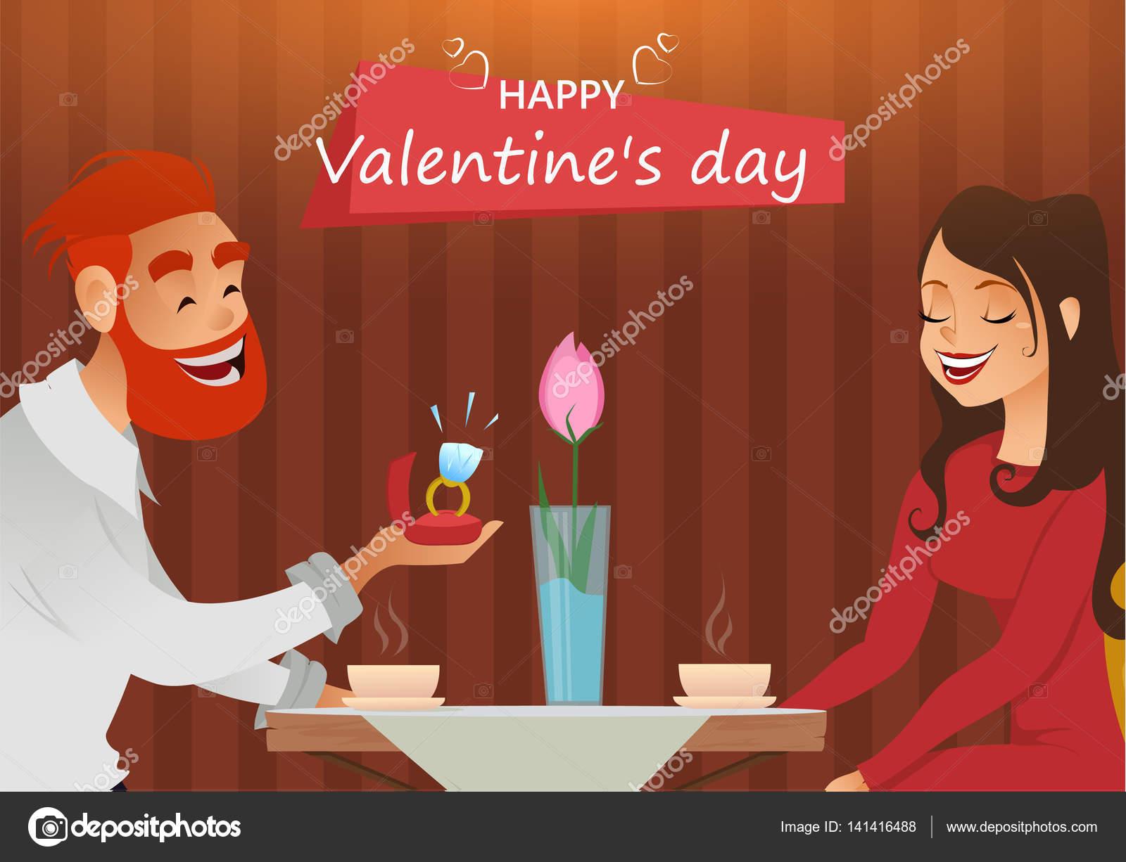 gratulationskort förlovning Par i kärlek, romantiska kväll på restaurang eller café, ung man  gratulationskort förlovning