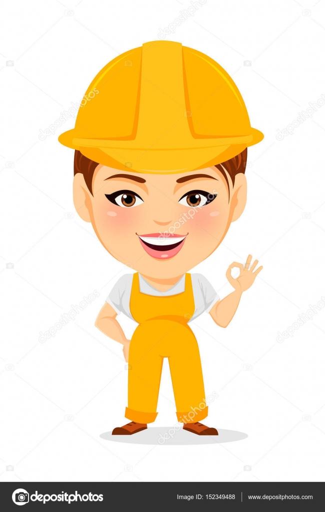 Mujer del constructor. Divertido trabajador femenino con