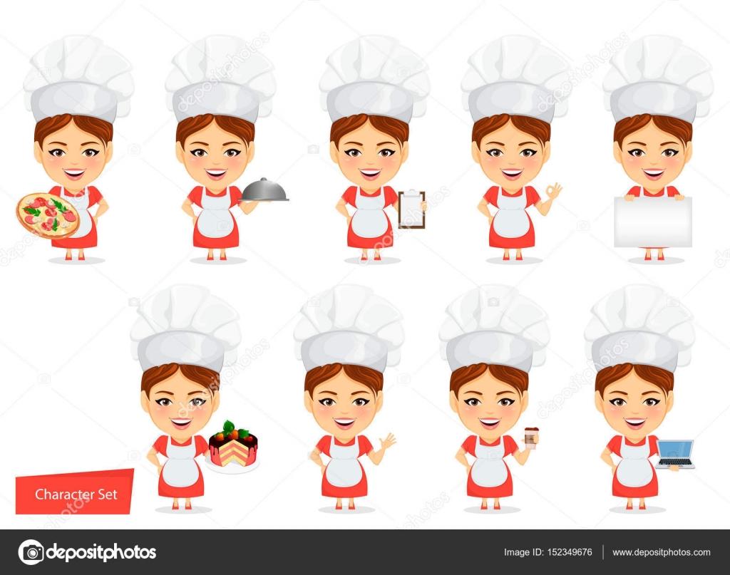 Faire cuire femme femme chef cuisinier personnage de - Cuisinier dessin ...