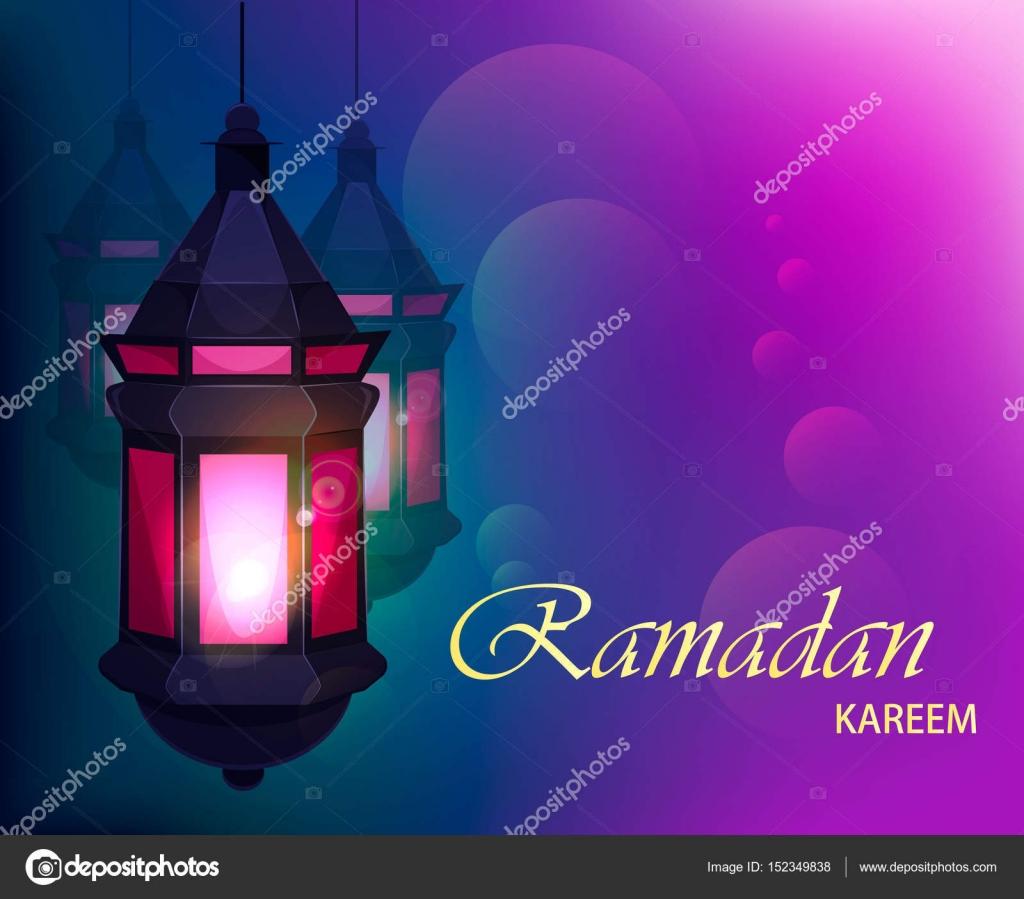 Ramadan kareem beautiful greeting card with traditional arabic ramadan kareem beautiful greeting card with traditional arabic lantern on blurred purple background usable for m4hsunfo