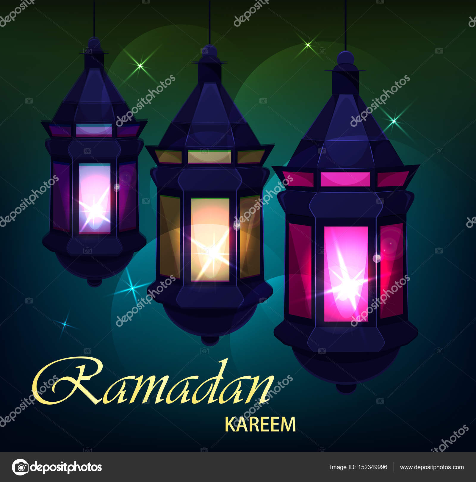 Ramadan kareem beautiful greeting card with traditional arabic ramadan kareem beautiful greeting card with traditional arabic lanterns on colored blurred background usable for m4hsunfo