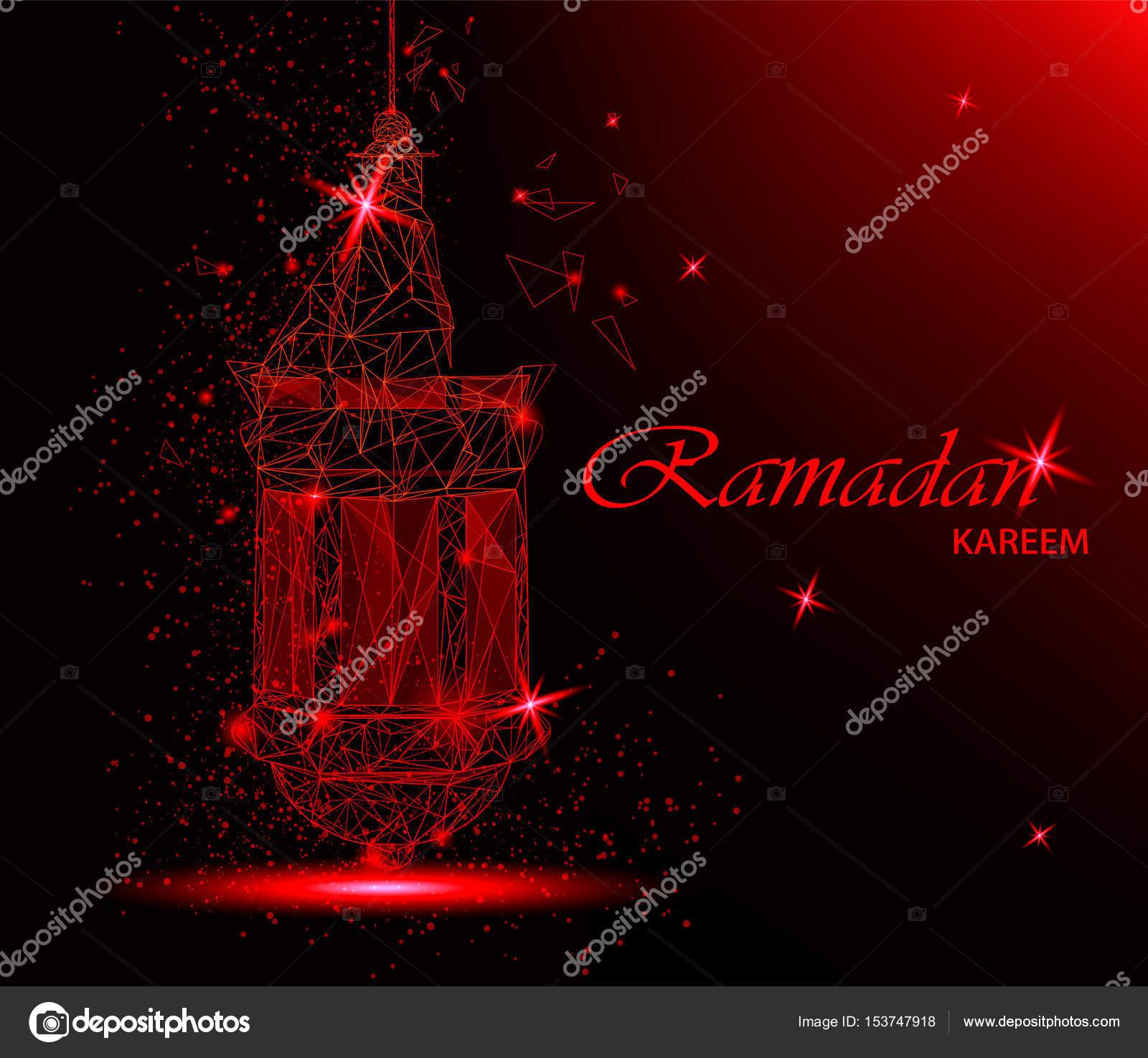Ramadan Kareem Beautiful Greeting Card With Traditional Arabic Lantern.  Polygonal Art On Red Background.