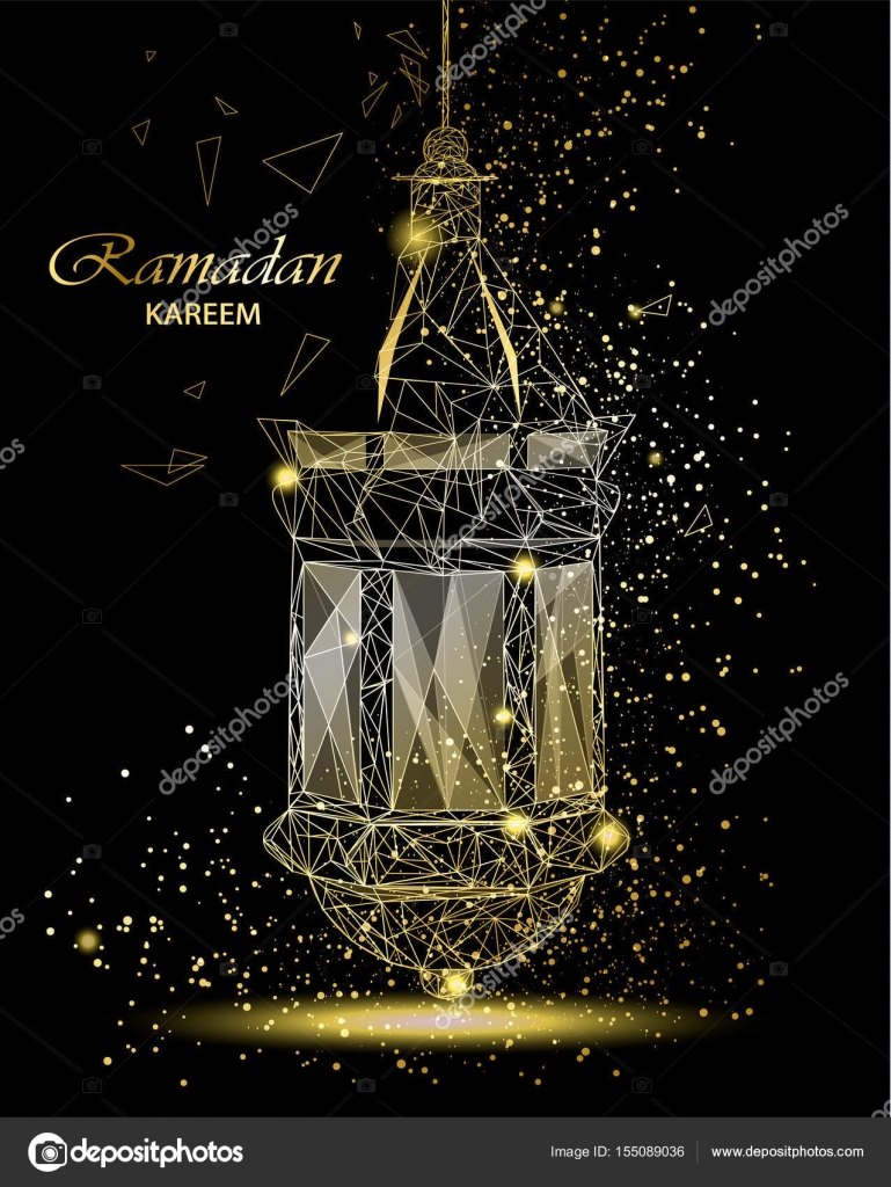 Ramadan kareem beautiful greeting card with traditional arabic ramadan kareem beautiful greeting card with traditional arabic lantern polygonal art on black background m4hsunfo