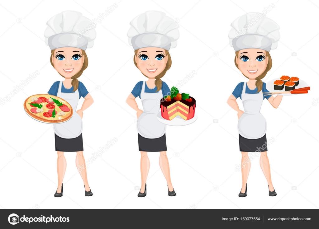 Conjunto de chef mujer personaje de dibujos animados for Cocinar imagenes animadas