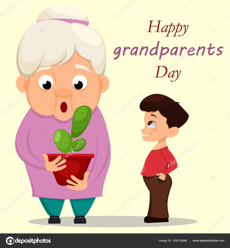Grandparents day greeting card grandson giving a cactus to his grandparents day greeting card grandson giving a cactus to his stock vector m4hsunfo