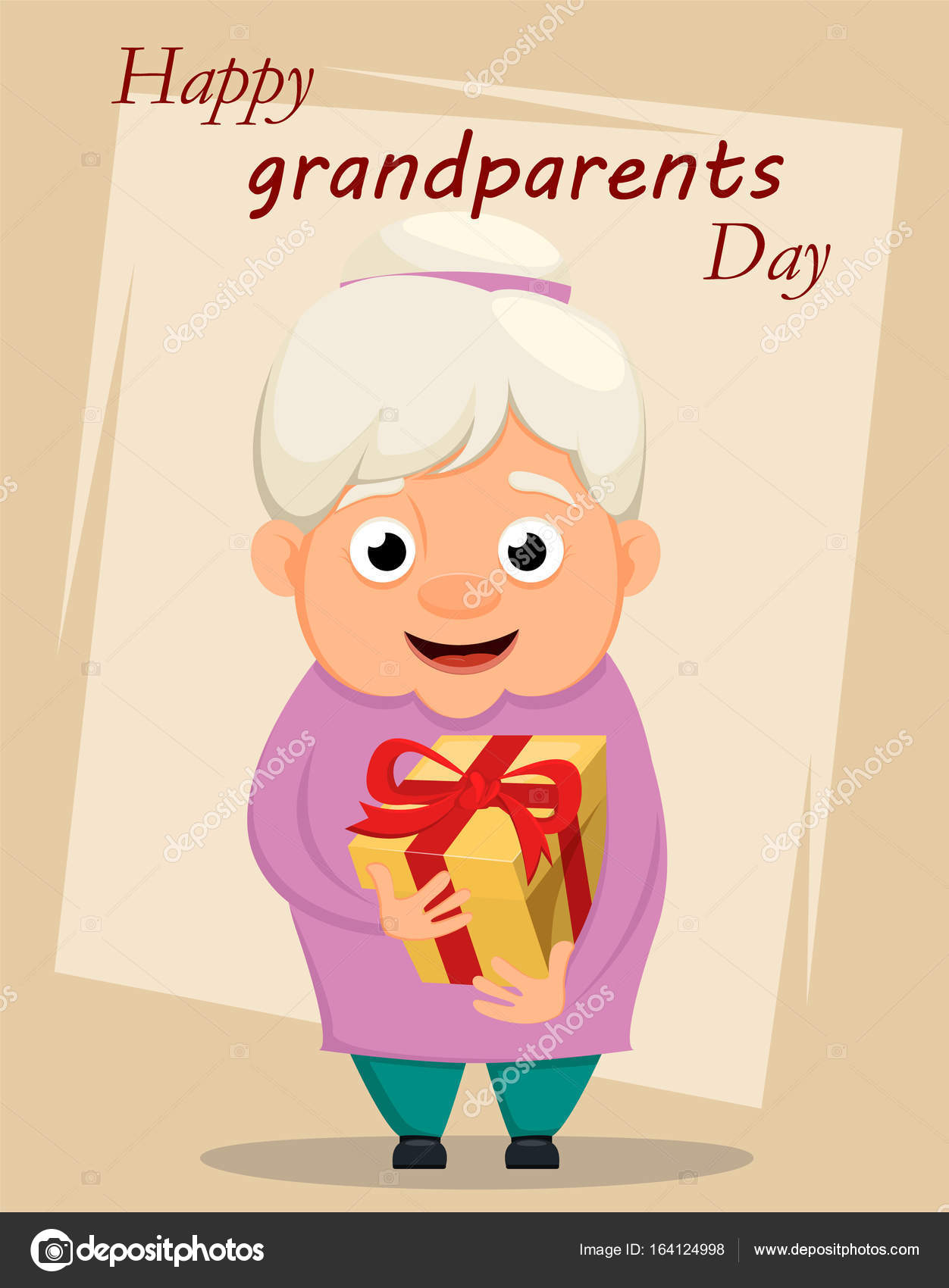 Grandparents day greeting card grandmother holding gift box ve grandparents day greeting card grandmother holding gift box ve stock vector m4hsunfo