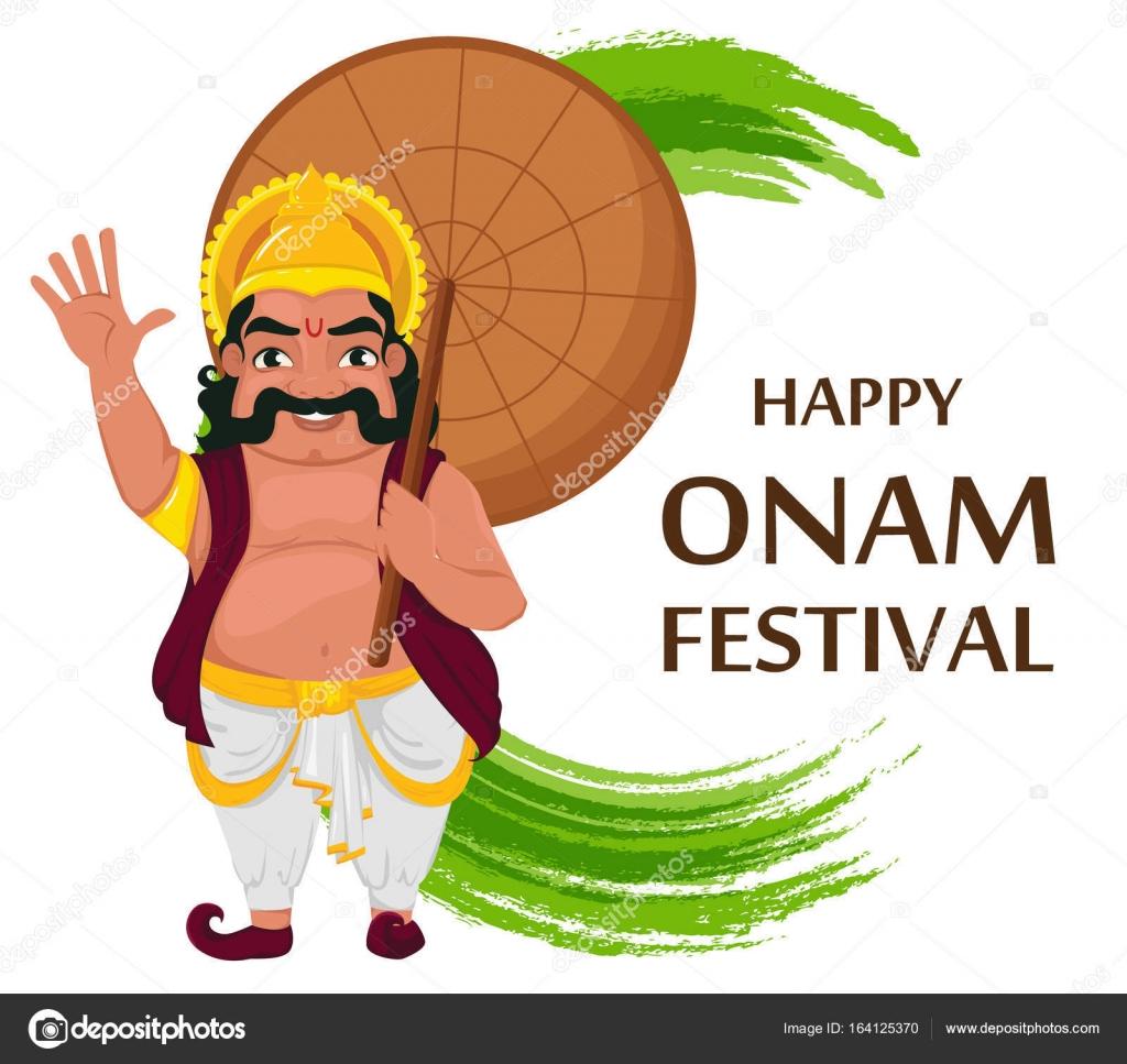 King Mahabali Happy Onam Festival In Kerala Stock Vector