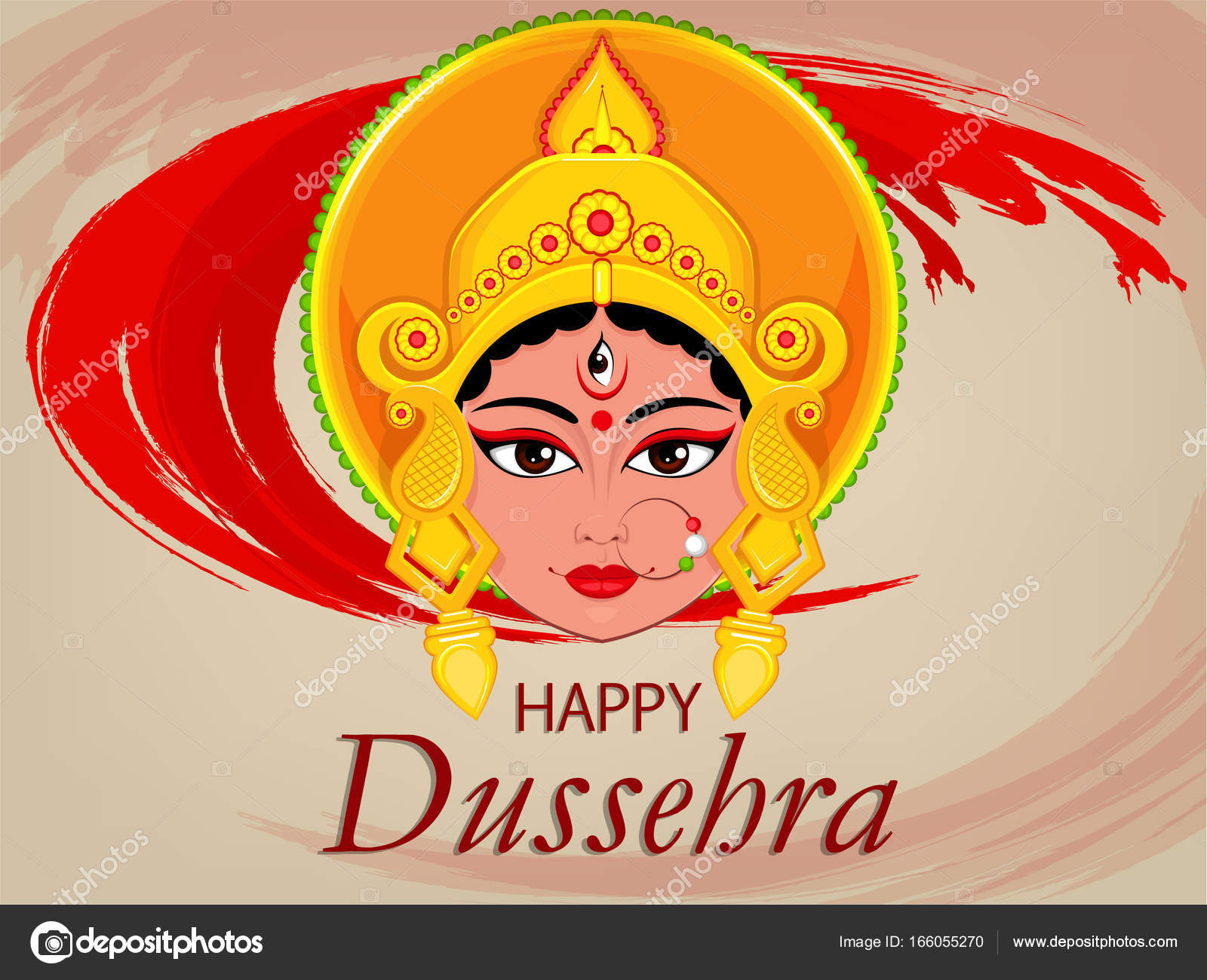 Happy dussehra greeting card maa durga face for hindu festival happy dussehra greeting card maa durga face for hindu festival stock vector kristyandbryce Choice Image