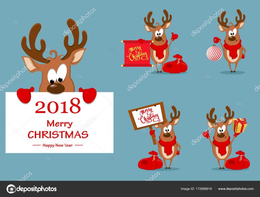 Foto Divertenti Di Buon Natale.Cartolina D Auguri Di Natale Con Renna Divertente Vettoriali Stock