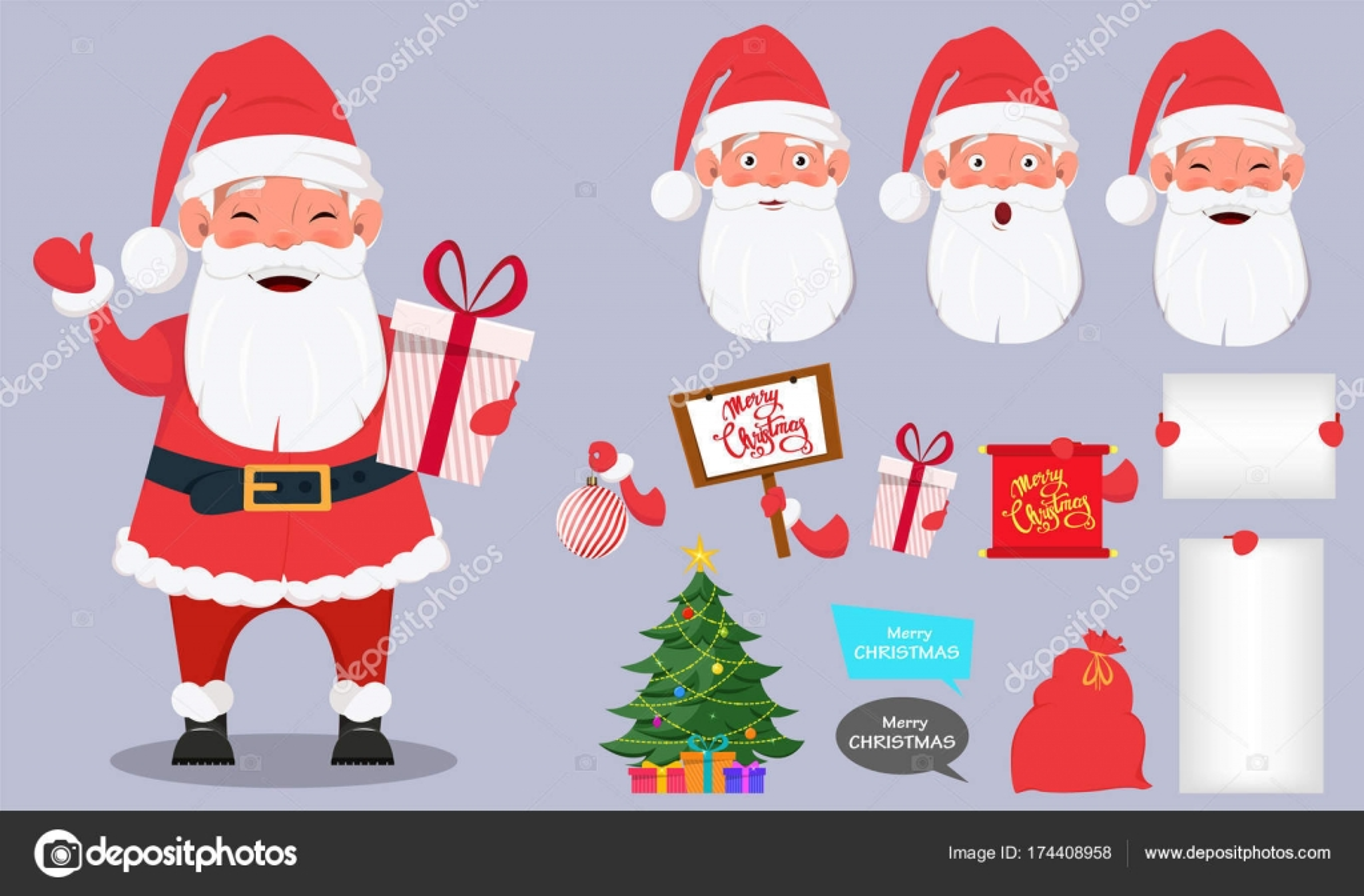 Satz von Santa Claus mit Körperteilen — Stockvektor © VectorKIF ...