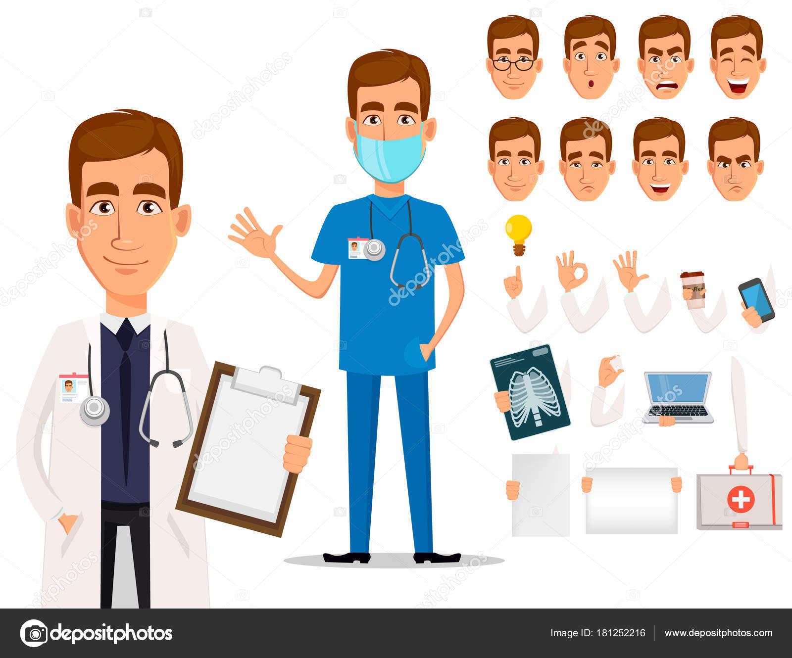 Junge professionelle Arzt, Pack von Körperteilen und Emotionen ...