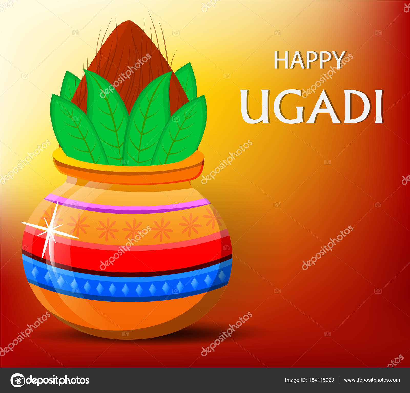 Happy ugadi greeting card with beautiful decorated kalash stock happy ugadi greeting card with beautiful decorated kalash stock vector kristyandbryce Images