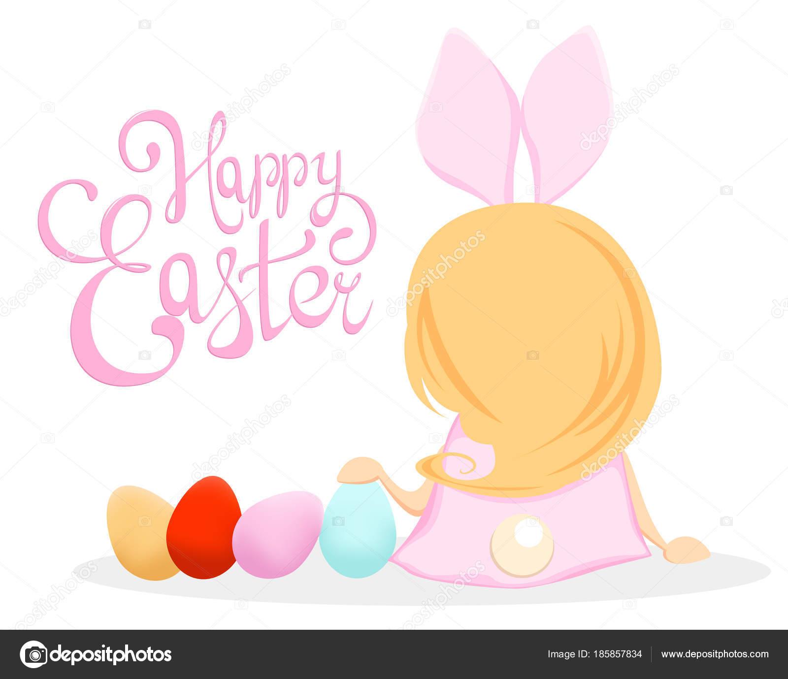 Frohe Ostern Niedliche Mädchen In Einem Kostüm Von Kaninchen