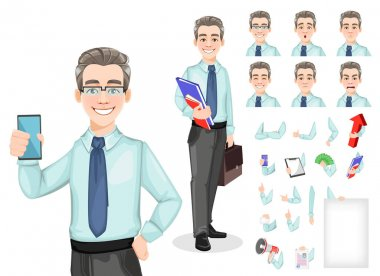 Handsome confident business man, pack of body parts, emotions and things. Build you unique design. Cheerful businessman cartoon character. Stock vector icon