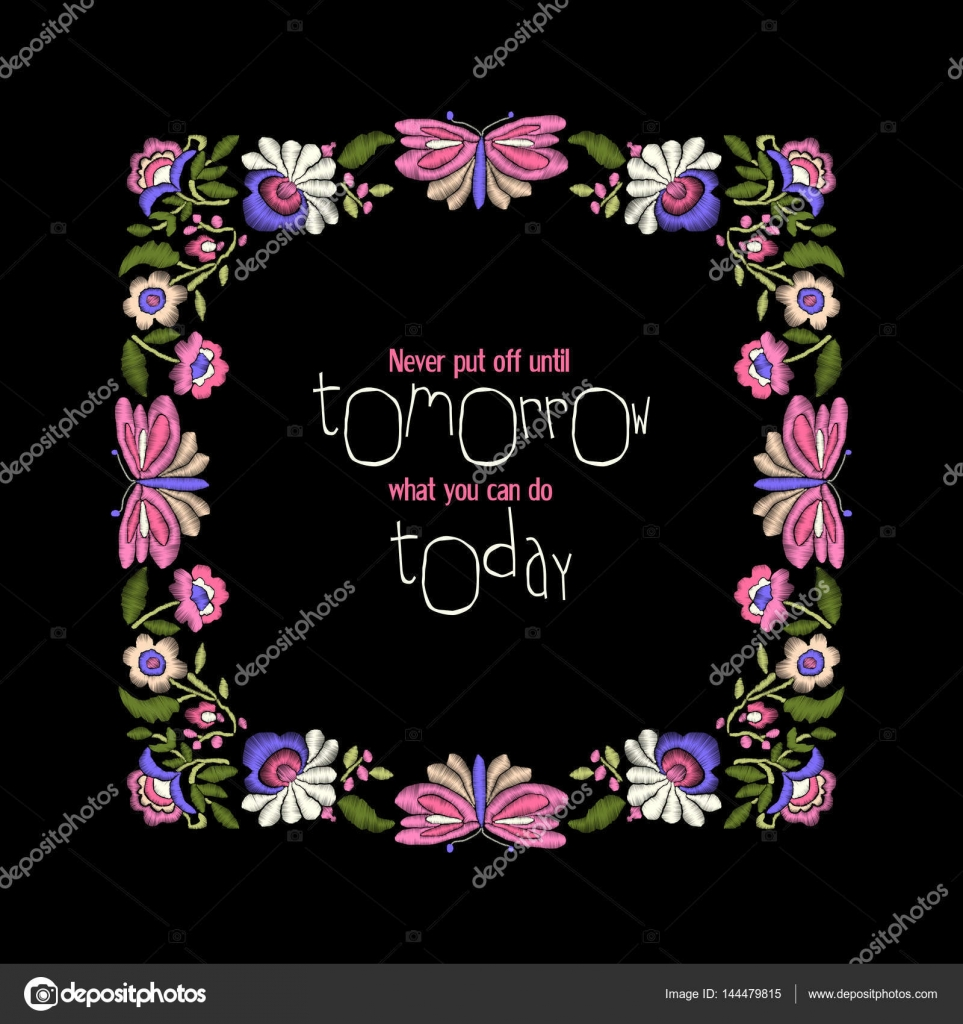 Blumenstickerei Rahmen mit Zitat — Stockvektor © tabuday #144479815