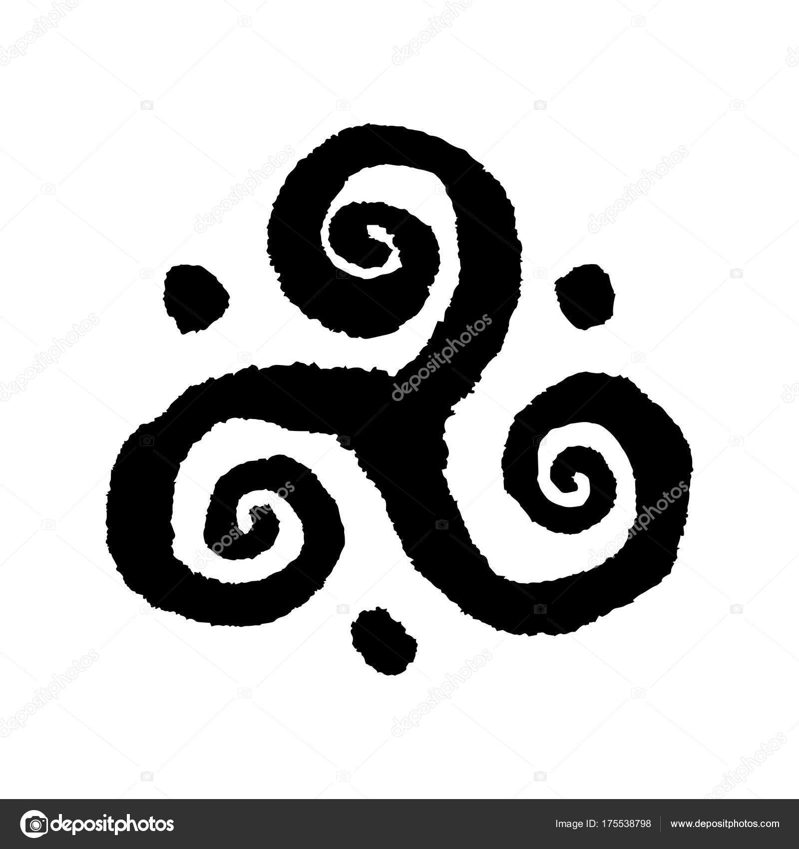 Triskele Buddhistische Dreifache Spirale Symbol Handgemachte Vektor