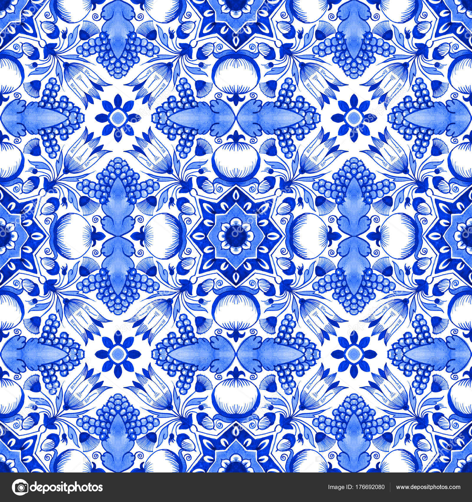 Delft Blue Style Watercolour Seamless Pattern Traditional Dutch Tile ...