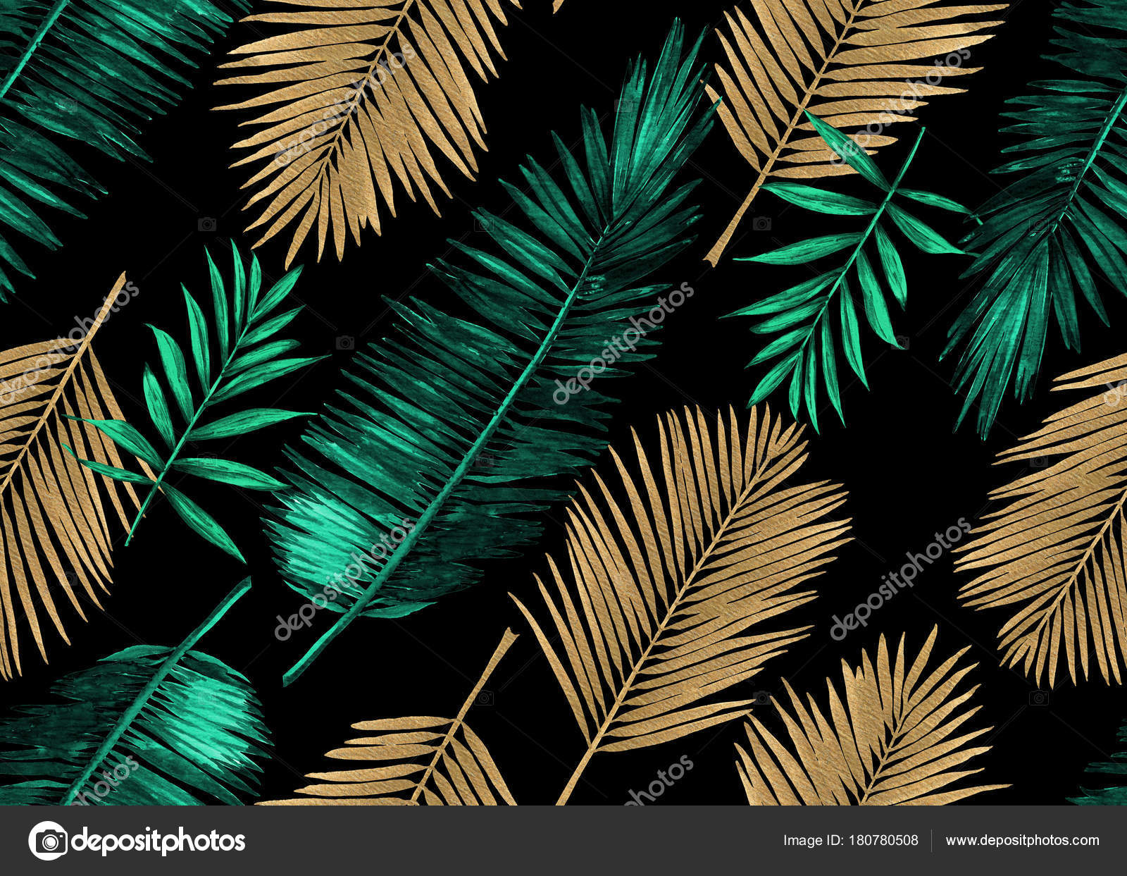 Seamless Watercolor Floral Pattern With Stylized Palm Leaves Jungle Foliage Emerald Green And Gold Metallic On Black Background Textile Design