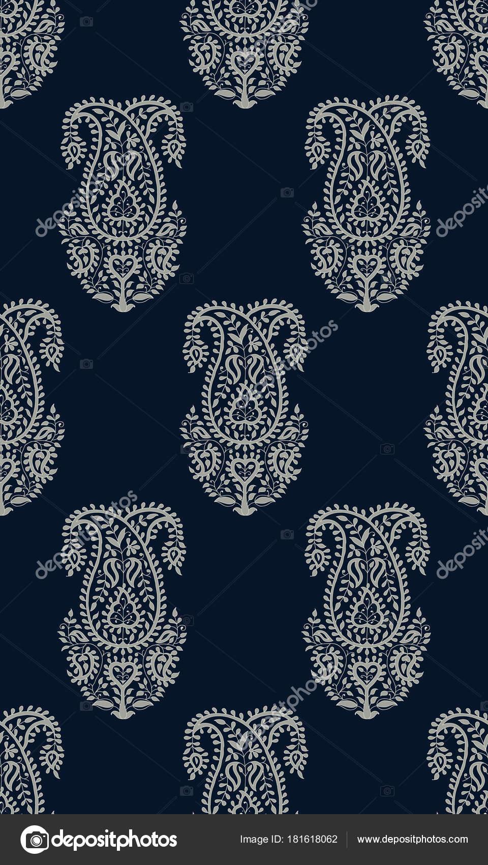 Seamless Indigo Dye Woodblock Printed Paisley Pattern Traditional
