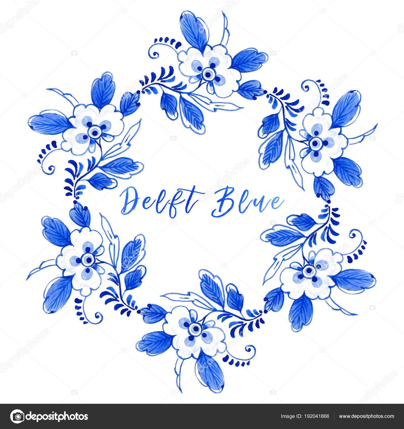 watercolour floral circular border delft blue style wreath