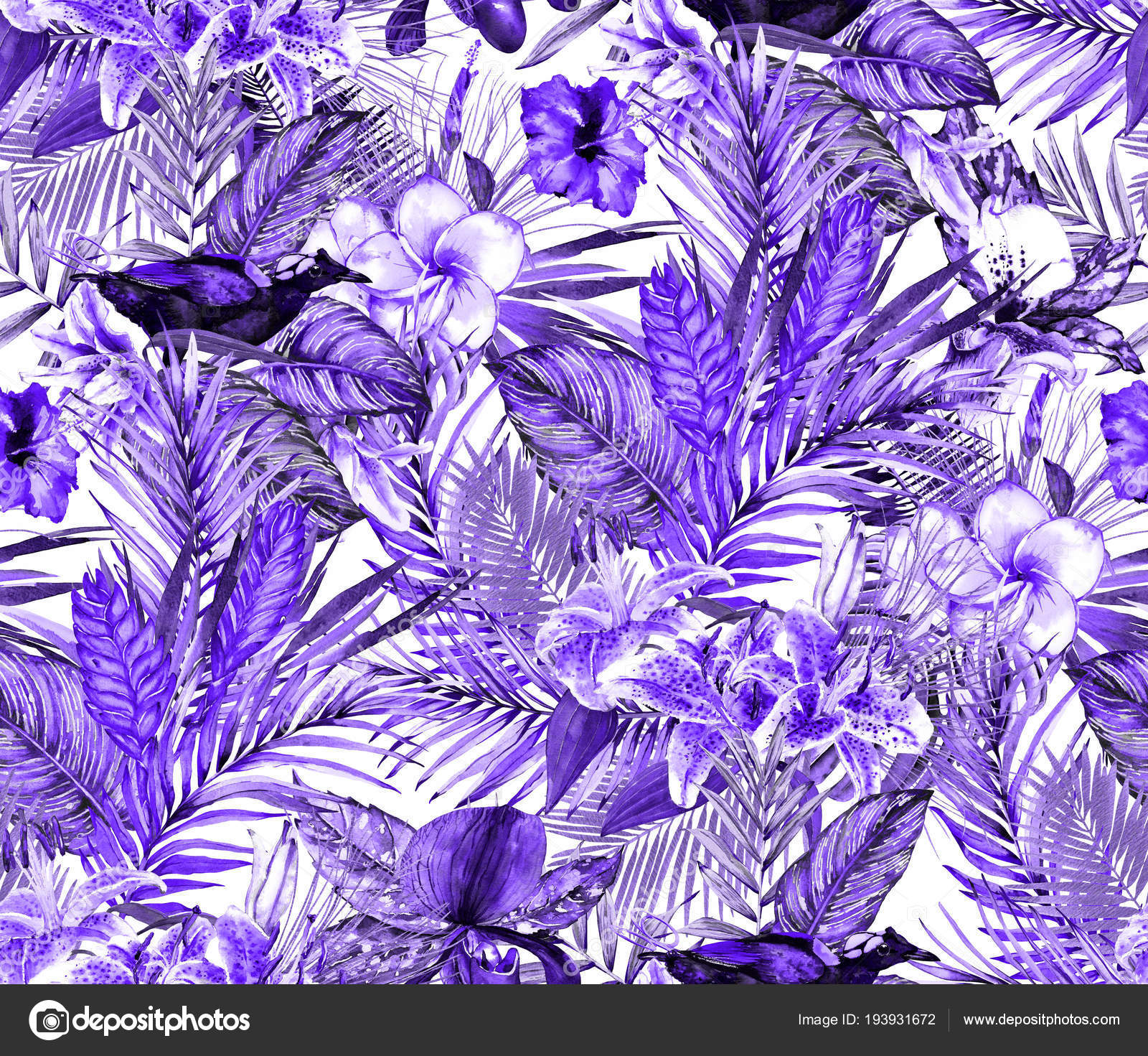 Seamless Violet Tropical Floral Pattern Beautiful Hand Painted